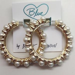 Betsey Johnson New Gold Hoop with Pearls Earrings